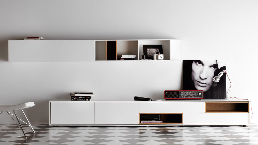 Mueble tv aura 6 mbit for Mueble salon lacado blanco