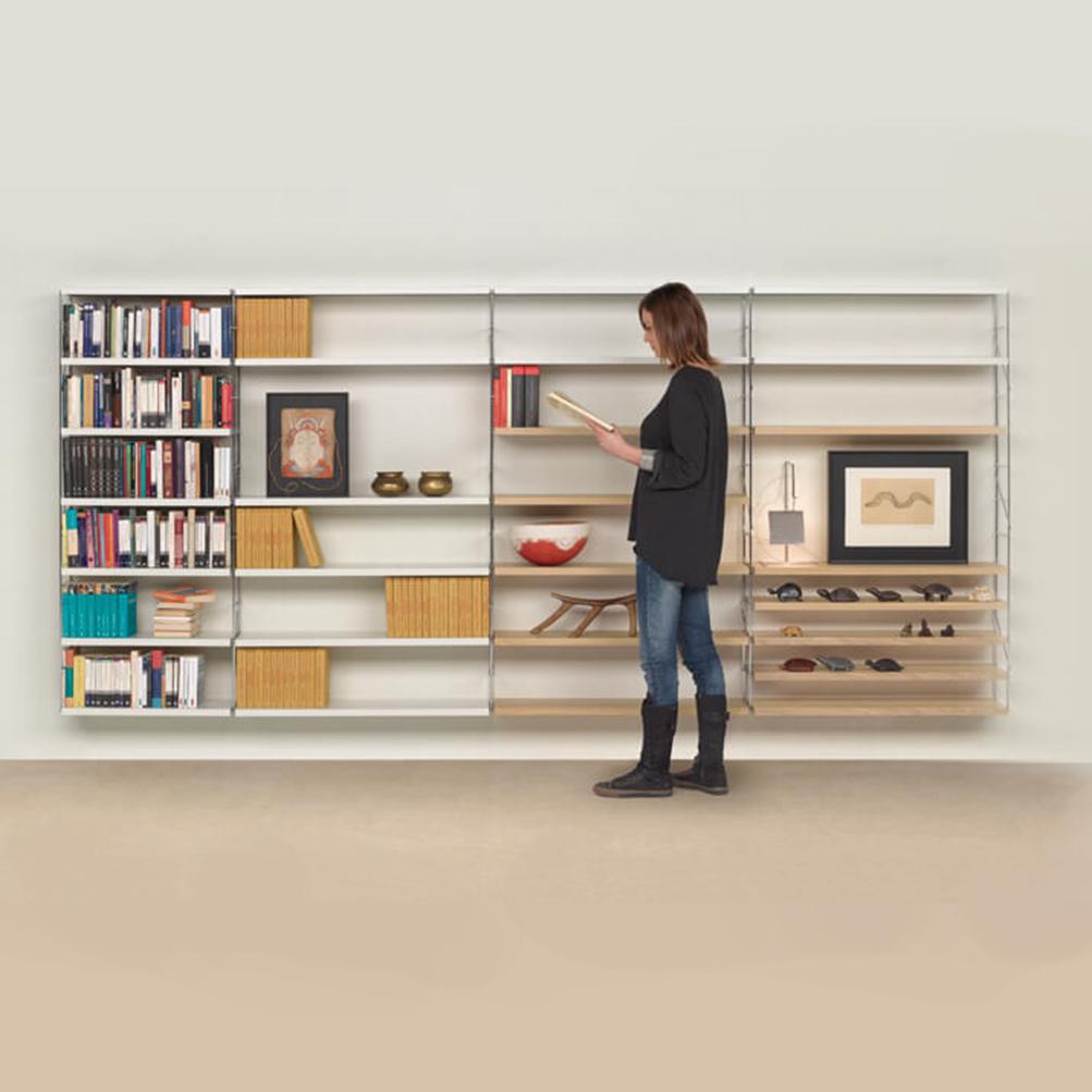 tria24 m114 estanteria pared colgar estantes metalicos madera - Estanterias Bajas