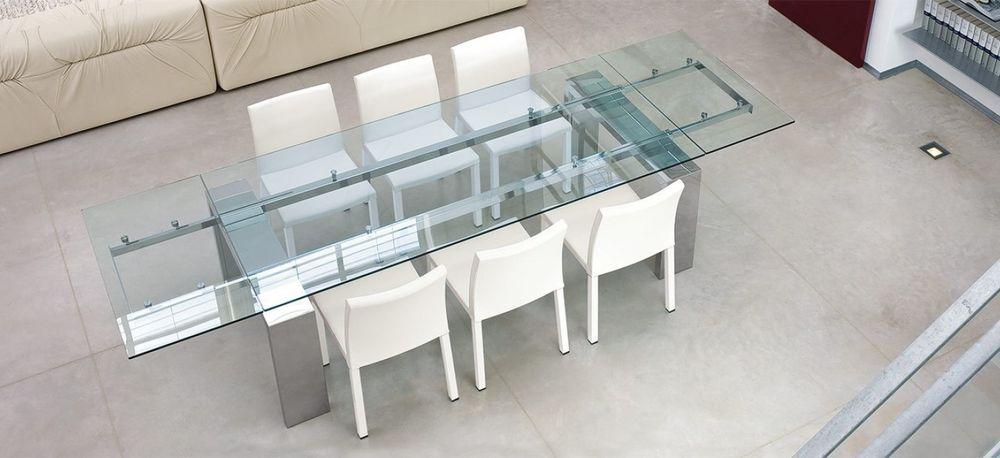 Mesas de comedor de cristal y acero extensibles casa dise o - Mesa comedor cristal y acero ...
