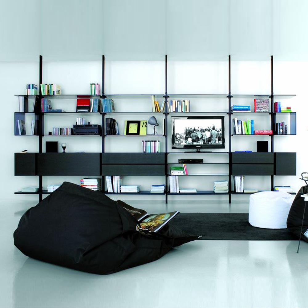 libreria-extendo-lacado-diseño-abierto-perfiles-metalicos-negro