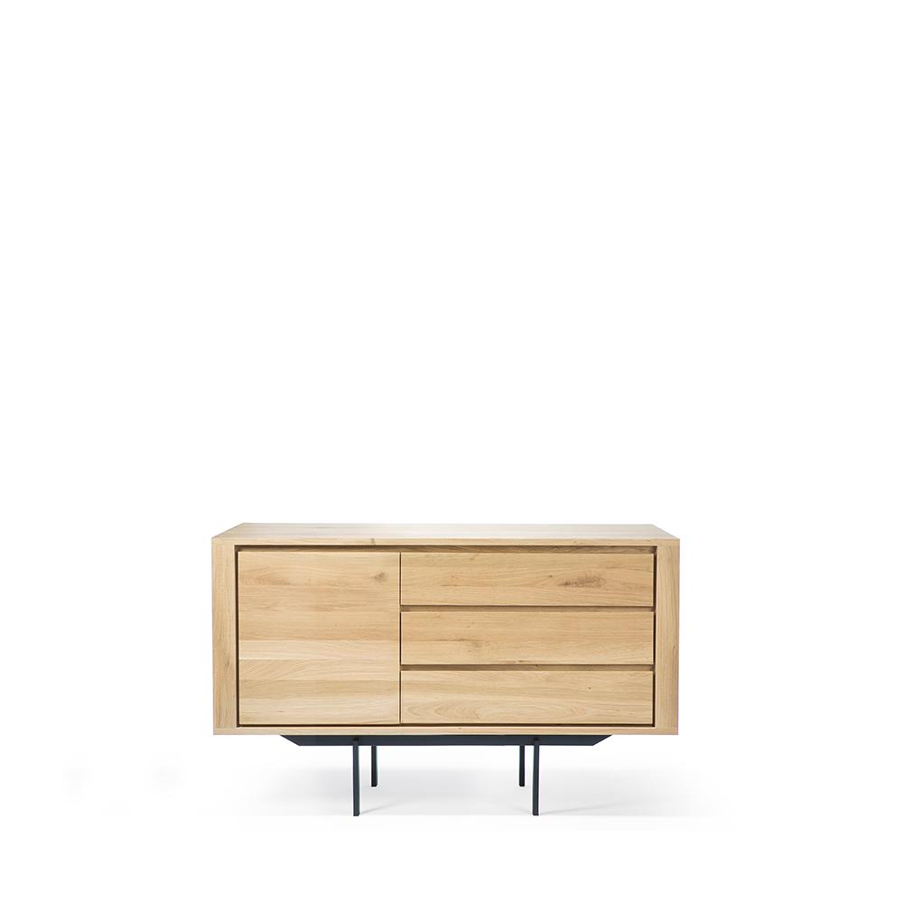TGE-051388-Oak-Shadow-sideboard-1-door-3-drawers-metal-legs